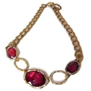 Gold Tone Necklace Red Stones Faux Diamond Chips